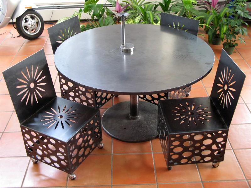 Steel table and four chairs, roy mackey, flamingsteel.com
